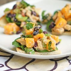 Chicken salad with mango.Delicious salad with cooked chicken breasts and riped mango chutney.