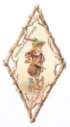 Le mois de novembre - chasseur chasse -  Chromo Chocolat Devinck - Trade Card