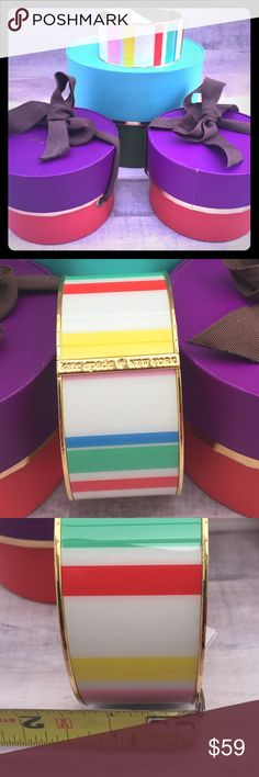 Kate Spade colorful striped bangle Great bangle for this spring/summer floral fashions! Comes with signature brown dust bag and gift wrapped! Ready to give to that special lady!! kate spade Jewelry Bracelets