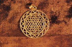 Sri Yantra Lotus Mandala Brass Pendant Necklace Sacred geometry antique indian BP11