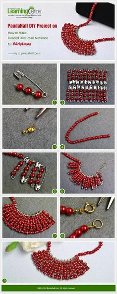 PandaHall DIY Project on How to Make Beaded Red Pearl Necklace for Christmas from LC.Pandahall.com | Jewelry Making Tutorials & Tips 2 | Pinterest by Jersica