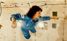 Christa McAuliffe Experiences Weightlessness. She represented the Teacher in Space Project and died when Challenger exploded during take-off on January 28, 1986.