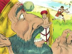 Free Bible illustrations at Free Bible images of young David, believing God will bring him victory, taking on the Philistine giant Goliath. (I Samuel 17:1-58): Slide 16