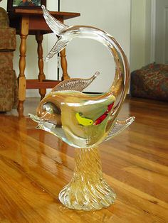Take a look at this vintage Italian Murano glass hand blown glass fish.
