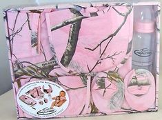 realtree pink camo nursery | Realtree-Camo-Pink-Baby-Gift-Set-Nursery-Shower-Onesie-Bib-Pad-Booties ...