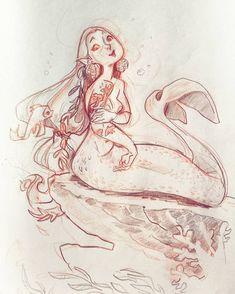 #mermay #mermaid  #sketchnearlyeveryday #sketches #art #sketchbook... showing of her tattoos 3 by schmoedraws