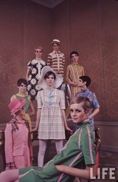 Twiggy and models in her own line of clothing in Life magazine, 1967