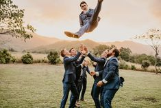 Groomsmen ideas and inspo for poses EXTREME! Bride Prep Ideas - Garden Wedding in Queensland. Boho luxe wedding dress and large bridal party. Ceremony and reception venue Laloli Gardens, Cairns. Luxe Wedding, Wedding Dress, Groomsmen Poses, Large Bridal Parties, V Hair, High School Sweethearts, Cairns, Photo Location, Friend Wedding