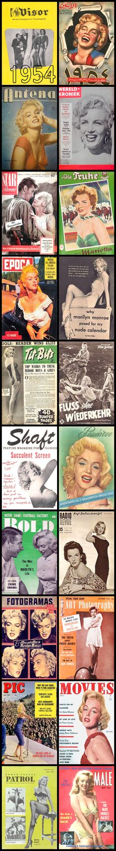 1954 magazine covers of Marilyn Monroe .... #normajeane #vintagemagazine #pinup #iconic #raremagazine #magazinecover #hollywoodactress #monroe #marilyn #1950s
