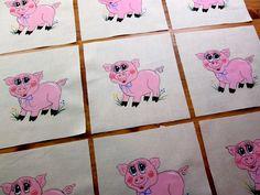 "Set of 9 Handpainted Adorable Pink Pig 6"" x 6"" Quilt  Blocks"