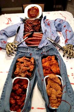 Halloween Party Serving Table Idea ~ fun for a Walking Dead party too