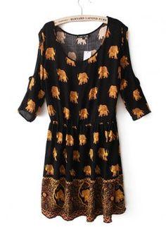 Black Off the Shoulder Elephant Print Pleated Dress [Dress51015] - $24.00 : EverMissFashion.com
