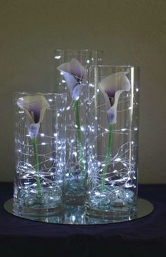 Picasso Calla lilies in cylinder vases with fairy lights // .- Picasso Calla Lilien in Zylinder Vasen mit Lichterketten // Celebration Flair … Picasso Calla Lilies in Cylinder Vases with Fairy Lights // Celebration Flair …, - Lighted Centerpieces, Centerpiece Ideas, Calla Lily Centerpieces, Wedding Vase Centerpieces, Vase Ideas, Bling Centerpiece, Elegant Centerpieces, Wedding Vases, Decor Ideas