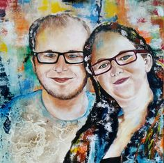 (geabracteerd portret) my son Andrew and his lovely wife to be. Round Glass, Paintings, Color, Paint, Painting Art, Colour, Painting, Painted Canvas, Drawings