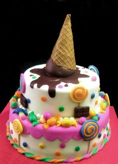 Melted ice cream cone candy birthday cake