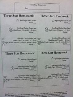 Three Star Homework Template for Kindergarten