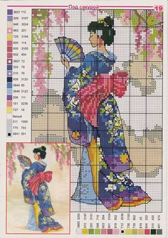 0 point de croix geisha en bleu et eventail - cross stitch geisha in blue with a…