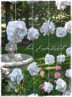 "Wedding Garland Paper Flower Roses ""Curtain"" of Seven Garlands from Vintage Books Backdrop Photoshoot  Decoration - Fills 6-7 ft x 7 ft area..."