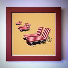 "Gallery: Pop series ""Chaise del Coronado"" (2015) 12 x 12 inch, digital art - Giclee print on enhanced matte with glass framed. Stain red, 14 x 14 inch. signed by Jon Savage --------------------------------------- #art #artist #popart #popartist #digitalart #contemporary #contemporaryart #cmyk #red #beach #chaise #coronado #hoteldelcoronado #sandiego #california #jonsavagegallery"