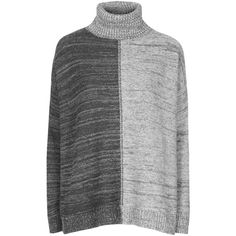 TOPSHOP Space-Dye Contrast Roll Neck Jumper ($80) ❤ liked on Polyvore featuring tops, sweaters, grey, relaxed fit tops, two tone sweater, jumper top, topshop sweaters and roll neck sweater