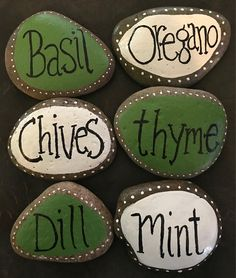 These lovely herb markers are done in a beautiful shade of palm green and/or white against a natural rock background. These are sold individually. They add a ton of charm to any herb garden, and Herb Markers, Plant Markers, Pebble Painting, Pebble Art, Culture D'herbes, Rock Background, Art Deco Hotel, Herb Garden Design, Herbs Garden