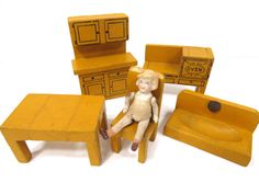Vintage Wooden Doll House Furniture, 5 Piece Kitchen Set, Realy Truly Furniture, Mustard Yellow, Converse & Son Co. by UrbanRenewalDesigns on Etsy