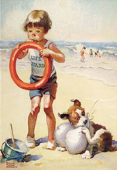 The Beach by Norman Rockwell: Peintures Norman Rockwell, Norman Rockwell Art, Norman Rockwell Paintings, Images Vintage, Vintage Pictures, Vintage Postcards, Am Meer, Baby Kind, Beach Art