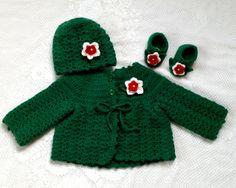 Baby cardigan crocheted baby sweater baby by TillieLuvsTreasures