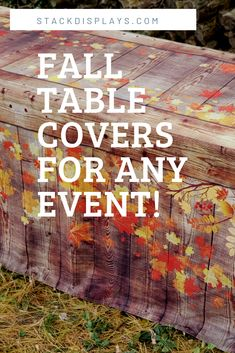 Fall Table Covers for your next event! Fitted design gives your table a real finished look and turns your ugly plastic folding table into a beautiful rustic wood crate! These look like real wood! Barn Wood, Rustic Wood, Craft Show Table, Vendor Table, Vendor Displays, Vendor Events, Wood Crates, Fall Table, Table Covers