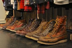 Row of awesome Redwing Boots - find these in our shop @ http://bootsjeansandleathers.com/
