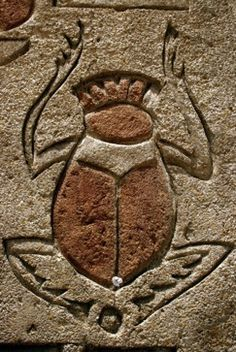 "Scarab. The scarab beetle in ancient Egypt was associated with the sun and renewal. Egyptians worshipped the scarab under the name Khepri: ""He who came forth from the earth"""
