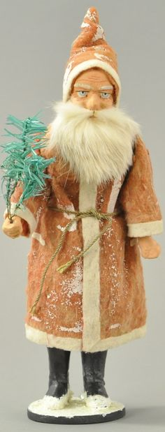 Germany, tall Santa wearing long robe trimmed in white, composition head with great facial detail and rabbit fur bear. on Nov 2016 Old Christmas, Antique Christmas, Christmas Items, Feather Tree, Candy Containers, Fur Coat, Auction, Santa, Antiques