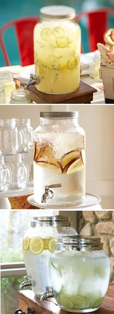 Drink Dispensers from Pottery Barn ranging from 59 to 79 dollars includes a Mason Jar style.