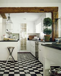 black and white check floor kitchen