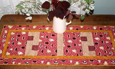 Pink Table Runner  Quilted Table Runner  Cake by RedNeedleQuilts