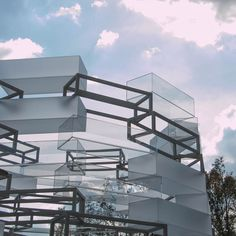 Pavilion for Museum of Immortality, 2016. Designed by German architects Nikolaus Hirsch and Michel Müller. Empty cuboids representing both museum vitrines and coffins are stacked to create this installation outside Mexico City's Museo Tamayo.
