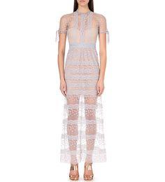 SELF-PORTRAIT - Sheer embroidered-mesh maxi dress | Selfridges.com