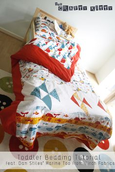 Toddler Bedding Tutorial in Marine Too | The Crafty Kitty