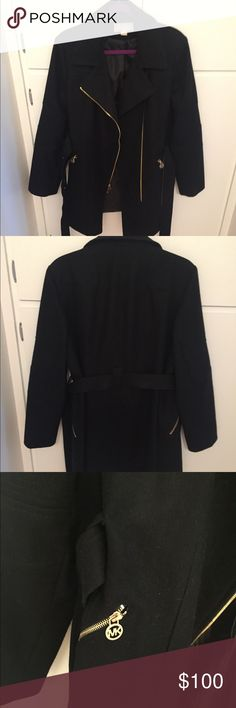 Michael Kors Black Wool Peacoat with belt Gently used MK peacoat, black. Worn a handful of times but now it is too big. There is a thin almost invisible residue on the INSIDE of the collar. You cannot feel it, or at least I couldn't and I have very sensitive skin. Michael Kors Jackets & Coats Pea Coats