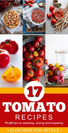 17 tomato recipes + tips on selecting, storing and preparing at Gourmandeinthekitchen.com @Sylvie   Gourmande in the Kitchen