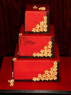Red Square Birthday Cake on Cake Central Red Fondant Cakes, Red Cake, 3 Tier Birthday Cake, 50th Birthday, Black And Gold Cake, Wedding Cake Red, Couture Cakes, Velvet Cake, Red Velvet