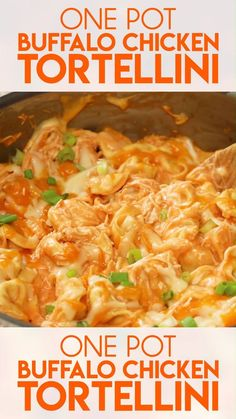 One Pot Buffalo Chicken Tortellini is a simple 20 minute weeknight dinner! You'll love the chicken tortellini with buffalo sauce, ranch, and melty cheese!