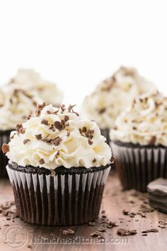 Dark Chocolate Cupcakes with White Chocolate Frosting - Cupcake Fanatic