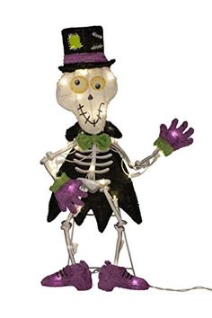 Product Works 24-Inch Pre-Lit 2D Victoria Hutto Skeleton Yard Decoration, 35 Lights ProductWorks