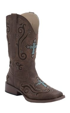 Roper Women's Brown with Turquoise Crystal Cross Underlay Square Toe Western Boot