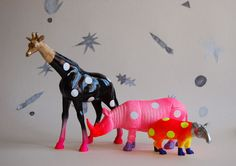 polka dot party animals. Could use this idea for other things eg. Ocean creatures or fairies from dollar store