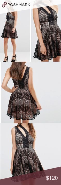 """STYLESTALKER elliot lace asymmetric strap dress New without tag! Mixed lace/Contrast lining Asymmetric neckline One-shoulder design Side zip fastening Regular fit - true to size Hand wash 100% Polyester Model wears a UK S/EU S/US XS and is 5'7.5"""" tall. Bust 29.5"""" / waist 25"""" /length 35"""". Stylestalker Dresses"""