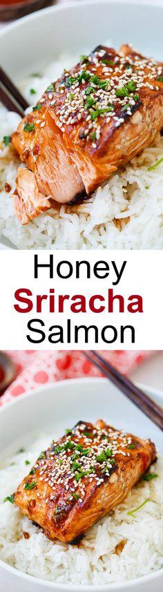 Honey Sriracha Salmon - easy, spicy, sweet, and savory, this glazed salmon recipe is awesome | rasamalaysia.com