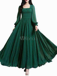 Belle place de vert foncé cou plissé en mousseline de soie robe Maxi pour femme - Milanoo.com