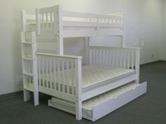 Twin over Full Bunk Bed with Side Ladder - White + Twin Trundle delivered for only $592